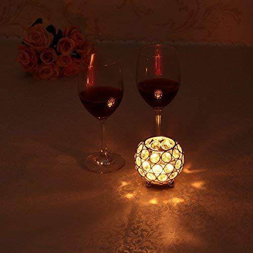 VINCIGANT Bougeoir Cristal Transparent de Bol Rond pour Decoration de Table Mariage Vase(8cm de Diamètre,Argent)-Convient aux Bougies LED/Chauffe-Plat