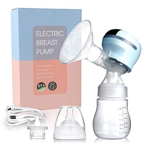 wolketon Elektrische Milchpumpe Brustpumpe 3 Modi 9 Stufen mit LED Touchscreen, BPA-frei, Tragbar Milchpumpe, Wiederaufladbar Muttermilch Abpumpen inkl. Schnuller mit Massage & Absaugung