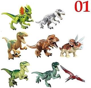 8 Pcs/lot Jurassic Dinosaur DIY Assembly Building Blocks Dino World Bricks Birthday Gift Educational