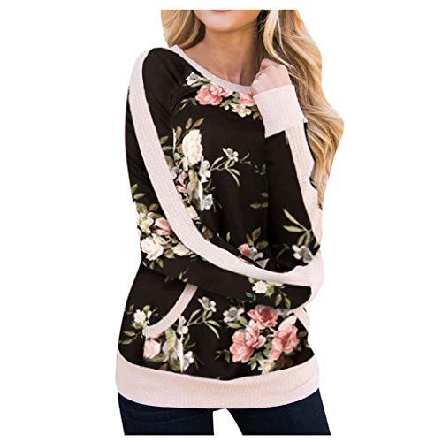 NPRADLA Damen Bluse Langarm Herbst Casual Camouflage Blumendruck Taschen Splice Large Sie Pullover Mädchen Lose Tops Sweatshirt(2XL,Schwarz)