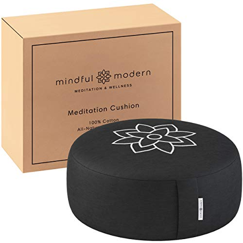 Mindful and Modern Large Meditation Cushion Pillow - Zafu Yoga Bolster Meditation Pillows For Sitting On Floor - Buckwheat Hull Filled Round Cushion with Removable Cover + Carry Handle (Minimal Black)
