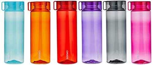 Amazon Brand - Solimo Plastic Water Bottle, 800ml, 6 Pieces, White