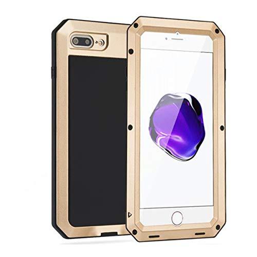 GZ HaiQianXin - Carcasa protectora para iPhone 7 Plus/8 Plus, aleación de aluminio, a prueba de golpes, resistente al polvo, película de vidrio templado ultrafina