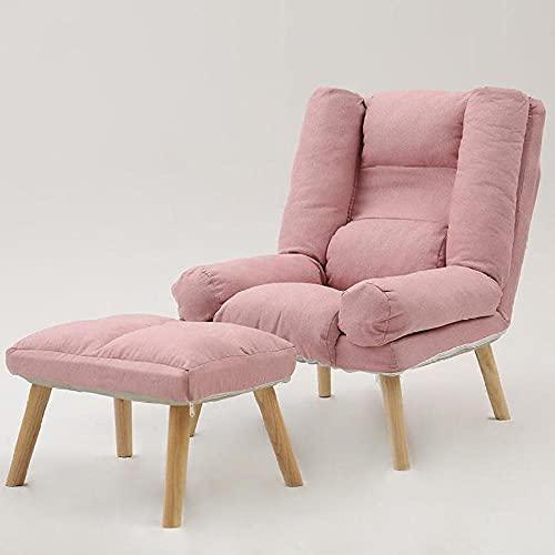 Sofá Sofá Sofá, cómodo sofá Individual con sillón de reposapiés, Utilizado en la Sala de Lectura de Dormitorio Silla de la Sala de Estar Moderna-Rosa