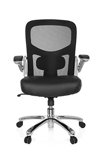 hjh OFFICE 736230 XXL Bürosessel Instructor S Leder/Netz Schwarz hochwertiger Drehstuhl bis 220 kg belastbar