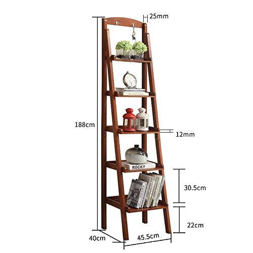 Planken DUO Rekken 5 Tier Ladder Plank Multifunctionele Plant Bloem Display Stand Opslagrek Boekenkast Boekenkast met 2 haken Rekken