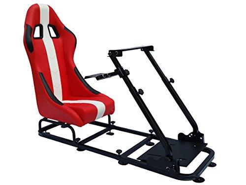 FK-Automotive Game Seat Spielsitz für PC und Spielekonsolen Kunstleder rot/weiß