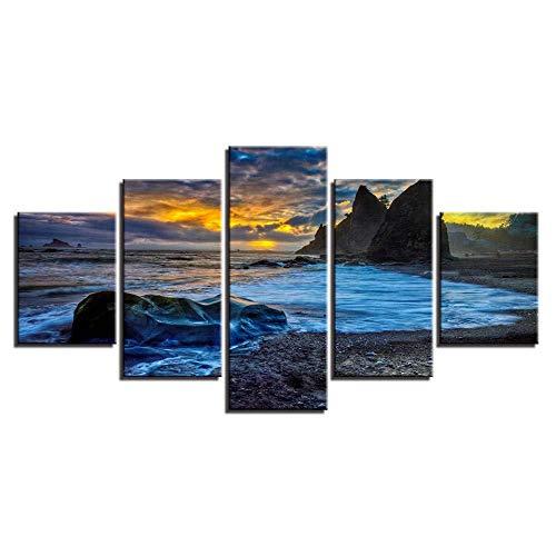 WRZWRM Home Wohnzimmer Dekoration Hd Gedruckt 5 Stücke Riff Stein Strand Seascape Malerei Poster Leinwand malerei 5 Wandkunst