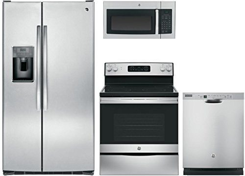 GE 4 pcs Stainless Steel Package with GSS25GSHSS 36' Side by Side Refrigerator, JB645RKSS 30' Freestanding Electric Range, JVM3160RFSS 30' Over the Range Microwave Oven, and GDF610PSJSS 24' Dishwasher