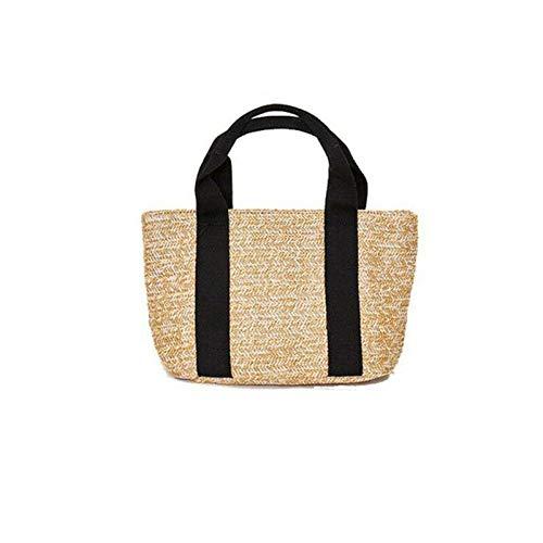 GJongie Damen Sommerdamenhandtasche Tasche Handtasche Handtasche Strandgras Webart Retro Retro Damen Rattan Tasche Handtasche