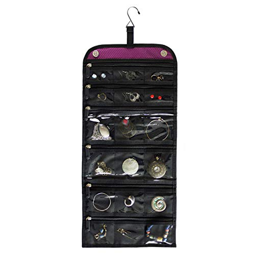 Jaimie Hanging Travel Jewelry Organizer - Double Sided and Portable - 23 Zippered...