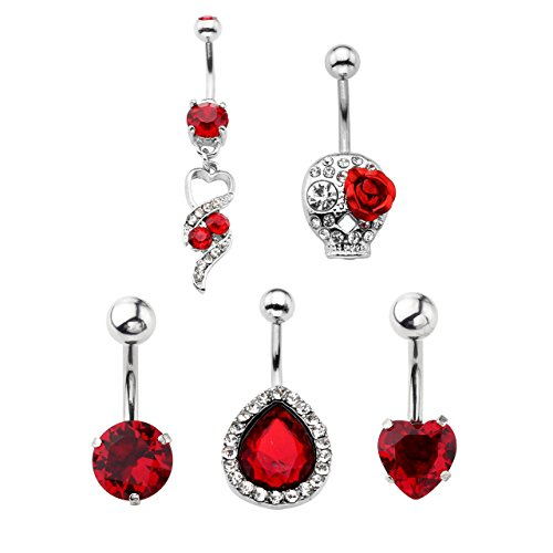 Jovivi 5pcs 14G Stainless Steel Belly Button Rings Dangle Bar Jewelry Set, with Gift Box