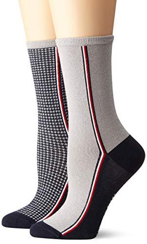 Tommy Hilfiger Damen TH Women 2P Houndstooth Lurex Socken, Mehrfarbig (Navy 321), 35/38 (Herstellergröße: 035) (2erPack)