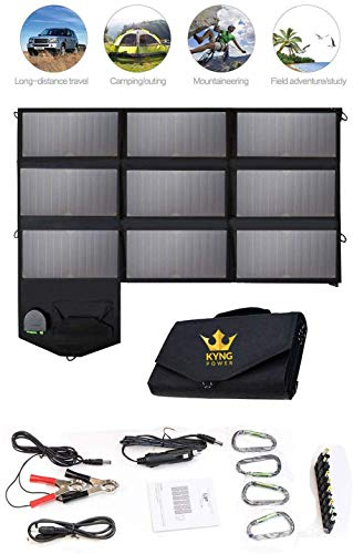 Kyng Power 60w Solar Panel Portable Power, 18V USB Charging, Camping, Hiking, Emergency, iPhone, Tablet, USB Compatible, Vacationing, etc. Compatible w/Solar Generators