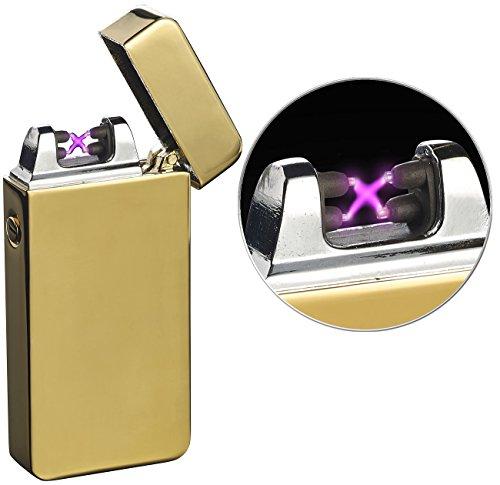 PEARL Lichtbogenfeuerzeug: Elektronisches USB-Feuerzeug mit doppeltem Lichtbogen und Akku, golden (Tesla Feuerzeug)