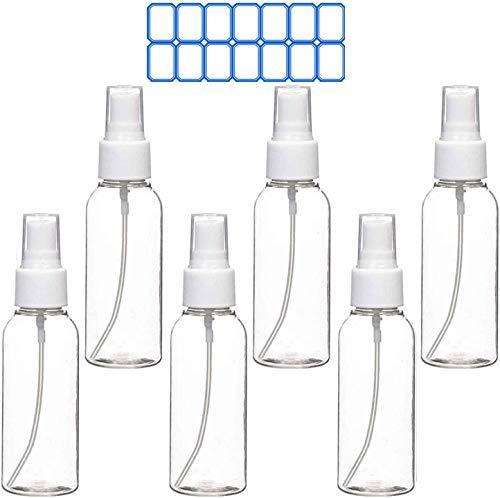Botella de Spray 6 Piezas 100ml Rellenable Botella de Spray Pulverizador de Plástico Atomizadores de Spray Vacía de Agua Bote Spray Botellas para Maquillaje, Perfume, Viaje