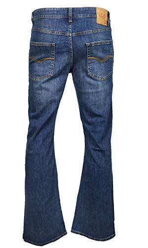 LCJ Denim LC16 Jeans da uomo, svasati, stile anni 70, elasticizzati Acid Wash Mid Blue W30 / L34
