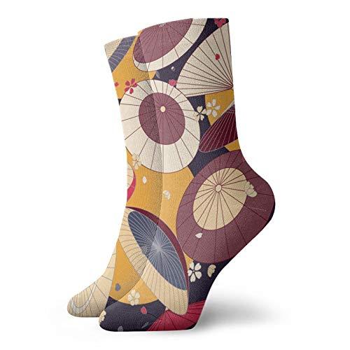Japonés tradicional paraguas y flor de cerezo unisex deporte calcetines cortos cómodos calcetines escolares para hombres mujeres para correr, senderismo, caminar atlético