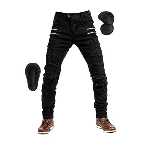 TIUTIU Pantalones Vaqueros Para Motociclista Para Hombres, Con 4 Almohadillas Protectoras Desmontables, Pantalones De Carreras Estilo Casual Resistentes A Roturas, Unisex (Black,L)