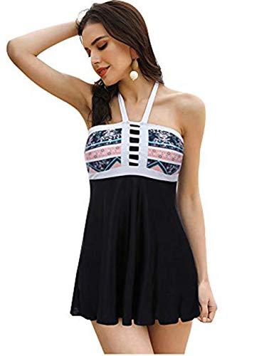 FeelinGirl Damen Neckholder Push Up Badekleid Figurformender Badeanzug mit Röckchen Bauchweg Einteiliger Badekleid XL Schwarz