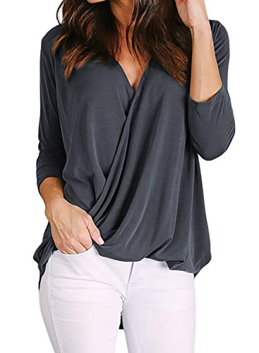 HOTAPEI Womens Autumn Blouses Casual Summer Long Sleeve Drape Wrap V Neck Work Business Cotton Blouses for Women Fashion 2019 Tunic Tops Shirts Grey XL