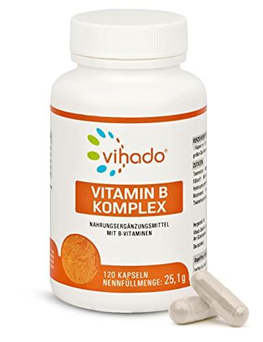 Vihado Vitamin-B Komplex hochdosiert, B1-B3-B6-B9-B12, 120 Kapseln, 1er Pack (1 x 25,2g)