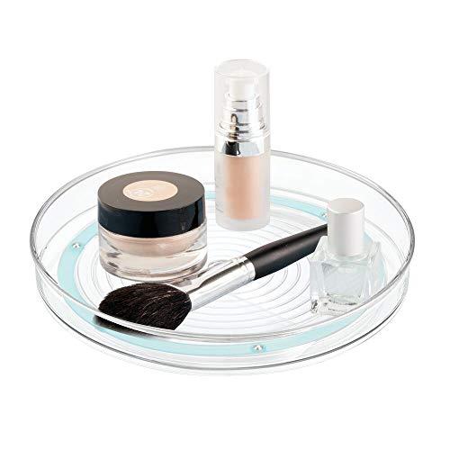 mDesign Kosmetik Organizer Lazy Susan – drehbare Badablage aus Kunststoff und Edelstahl für Make-up und Vitaminpräparate – ideal zur Schminkaufbewahrung im Badezimmer – durchsichtig/blau