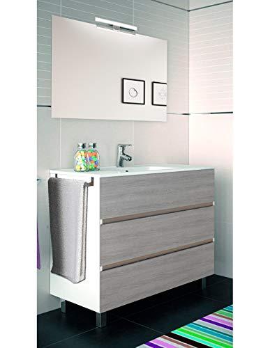 PDM Mueble de baño ARAE con Lavabo y Espejo. Aplique LED no Incluido. Toallero de Regalo. Combi Blanco Y Gris Ceniza 100CM