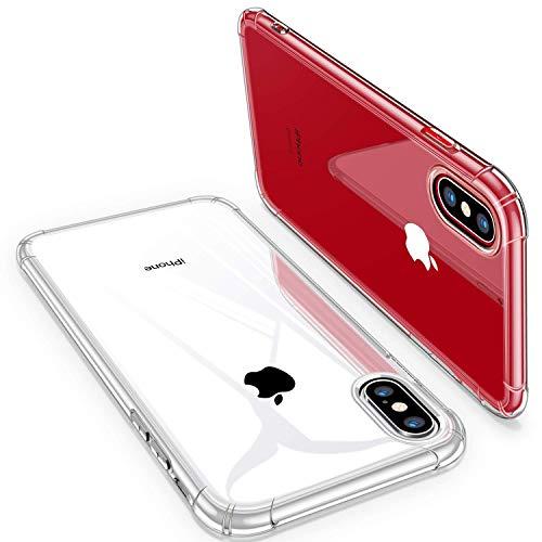 Coque iPhone Xs, Coque iPhone X - Souple Clair TPU Silicone/Housse Bumper, Garegce [Cadeau Ecran en Verre Protecteur][Shock-Absorption]Anti-drapante Cover pour iPhone Xs/X - Transparent