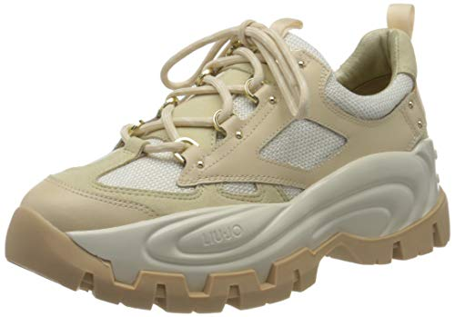 LIU JO Shoes Wave 01-Sneaker, Zapatillas para Mujer, Beige (Beige 00077), 37 EU