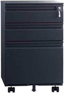 Armoires Classeur en Acier de Bureau en Acier de classement à Trois tiroirs (Color : Black)