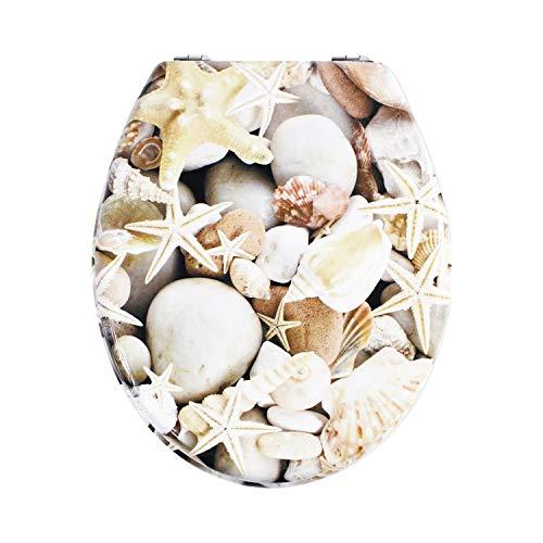 Tapa de Wc de Madera Mdf de Alta Calidad, Asiento de Inodoro Con Bisagras De Acero Inoxidable, Muchos Colores Y Diseños Para Decorar Tu Baño, Trendy Line (Estrella de mar 1)