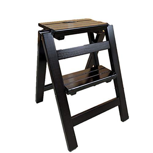 TLMY Taburete plegable de madera maciza con 2 escalones, para el hogar, multifunción, para interiores, escalones pequeños (color: negro)