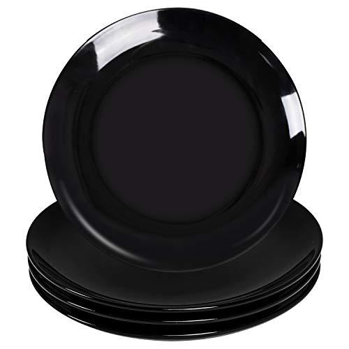 Dinner Plates Set- Delling 10in Black Dinnerware Plate -Large Salad Dish-Round Kitchen Ceramic Plate...