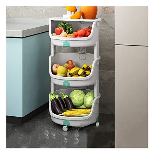 XGJJ Estantes Estante de Almacenamiento de Estante Decorativo, Estante móvil para Cocina doméstica, Estante de Frutas Vegetales, Estante de condimento de 3 Capas Soportes