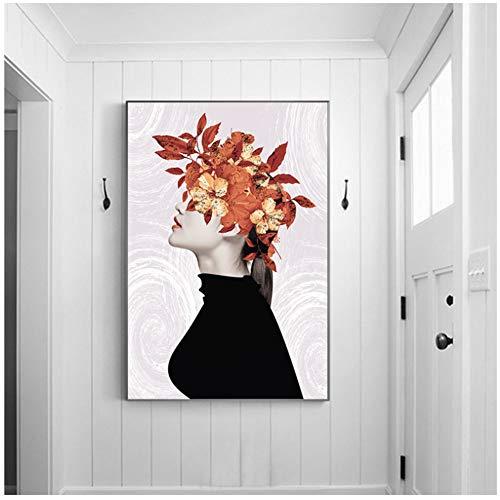 Nordic Poster slinger meisje schilderij hoofd met blad abstract muur kunst moderne minimalistische zwart wit meisje huis Decor-50x70cm geen frame