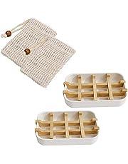 Queta Jabonera, 2 Unidades, sostenible, jabonera/Soporte de jabón con Bandeja de Goteo de Fibra de bambú y 2 Bolsas de jabón de sisal Natural para exfoliar o masajear (Blanco)