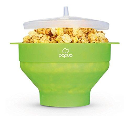 Richard Bergendi PoPuP Mikrowelle Popcorn Popper mit praktischen Griffen, Silikon Popcorn Maker, Faltschale mit Deckel