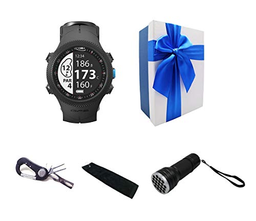 POSMA GS-GB3A Golf Triathlon Multi Sport GPS Watch Range Finder Deluxe Gift Set with 5-in-1 Divot Tool Golf Towel and 21 LED UV Ball Finder Torch Included Elegant Gift Box