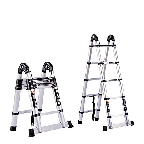 Escalera telescópica 3,2 m / 3,8 m / 4,4 m Escaleras tipo loft de extensión con polea, liviano Marco en forma de A Escaleras de tijera rectas Aluminio expandible Antideslizante Portátil multifunción