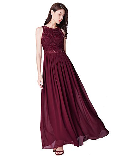Ever-Pretty A-línea Vestido de Fiesta Cuello Redondo sin Mangas Encaje Gasa para Mujer Borgoña 50