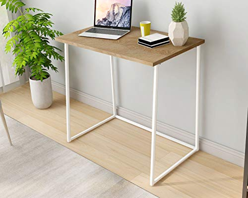 Computer Desk Office Folding Table Modern Simple Work Study Desk Industrial Style PC Laptop Table for Home Office Simple Assembly Required White