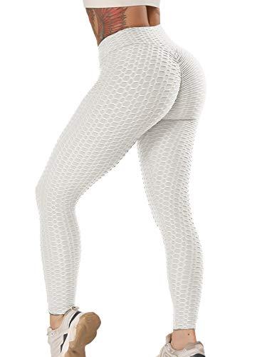 FITTOO Damen Scrunch Butt Leggings Honeycomb Yogahose Booty Lifting Fitness Hose Push-Up Sporthose Stretch Workout Fitness Jogginghose Design 2 - Grau XS