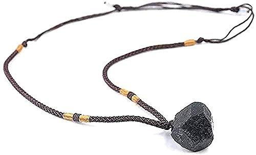 ZJJLWL Co.,ltd Collar Collar Naturaleza Negro turmalina Piedra Collar Cuerda Cadena Colgantes Collares Ajustables joyería para Hombres Mujeres declaración