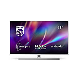 Philips TV Ambilight 43PUS8505/12 43 Zoll LED TV (4K UHD, P5 Perfect Picture Engine, Dolby Vision, Dolby Atmos, HDR 10+, Sprachassistent, Android TV) Hellsilber [Modelljahr 2020]