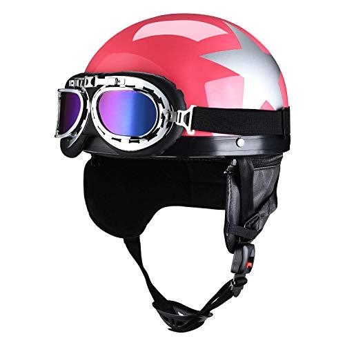 Motorcycle Half Helmet with Goggles for Men Biker Cruiser Scooter Helmets for Women Red