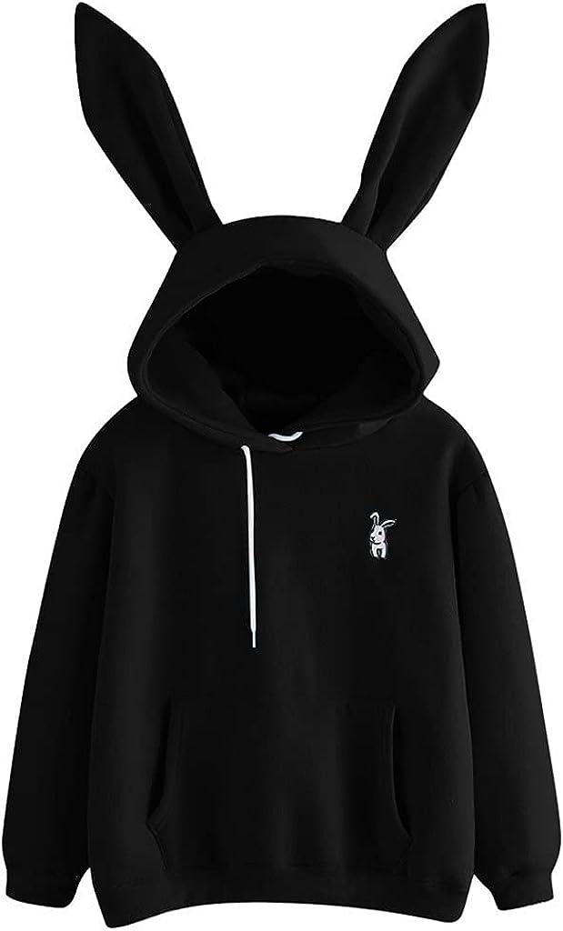 Women's Cute Rabbit Bunny Ears Hoodie Long Sleeve Hoodie Sweatshirt, Ladies Solid Drawstring Pullover Tops w Pockets