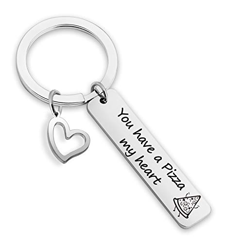 EIGSO Pizza Lover Keychain You Have a Pizza My Heart Pizza Jewelry for Girlfriend Boyfriend