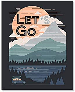 Mountain Art Print - Outdoor Nature Inspiration Wilderness Forest Landscape With Sunset Reflecting Lake Wall Art Road Trip Motivational Camping Wall Hanging 8 x 10 Inch Art Print