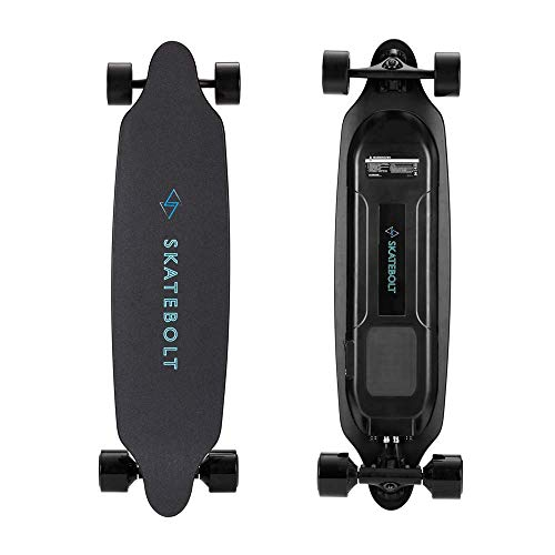 SKATEBOLT Electric Skateboard Longboard with Remote Controller, 25 MPH Top Speed, 22 Miles Max Range, Dual Motors Electric Longboard with LED Taillights-3rd Updated Generation (Tires Skin Replaceable)